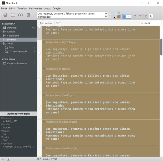 Exemplo de utilização da funcionalidade de escolher cores diferentes de fundo e preenchimento.