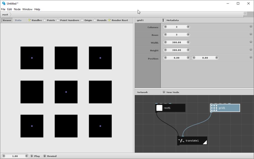 Interface do Nodebox 3: a direita temos dois painéis, o de baixo é onde criamos os nós e o de cima as configurações daquele nó. No lado esquerdo temos sempre em tempo real a visualização do código.