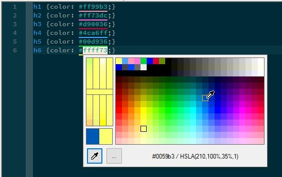 Exemplo de utilização do plugin ColorPicker que exibe a baixo do código hexadecimal da cor uma faixa representando ela. Possibilita a seleção de outras cores usando um seletor de cor.