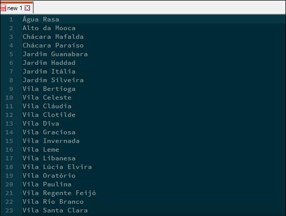 Lista de bairros crua.
