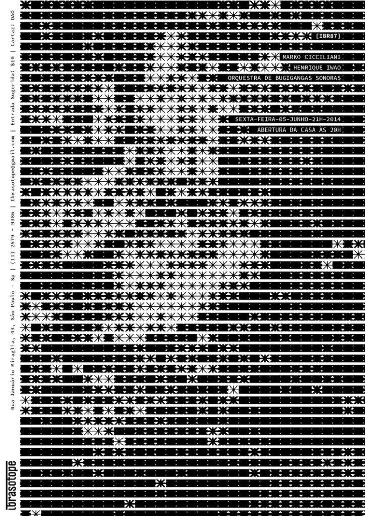 Cartaz para o Ibrasatope. O grafismo foi gerado a partir de uma imagem onde o código substituía uma porção de pixel da imagem por um módulo dependendo da intensidade do brilho daquela porção de pixels.