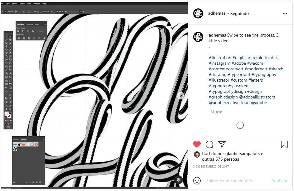 Post do Instagram onde o designer Adhemas Batista demonstra no software vetorial Illustrator uma forma de criar letterings cursivos com várias cores.